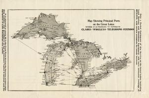This circa 1906 map of the Great Lakes shows the proposed locations for telegraph stations using Thomas E. Clark's wireless technology.