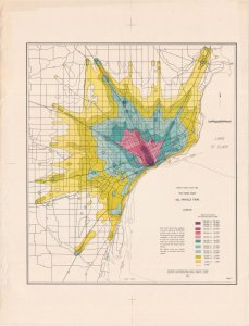 "The Detroit Metropolitan Area Traffic Study produced this map in 1955 charting ""trip desire"". This means it shows where the most popular destinations are for all vehicle trips within the metropolitan area."