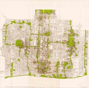 "This imaginative ""Proposed Framework for the Inner City of Detroit Illustrating Form and Space Possibilities"" from circa 1970 creates an interesting future that never came to pass. The green swathes mirror today's emphasis on greenbelts and greenways."