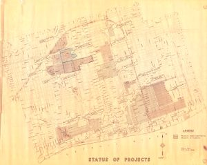 This 1964 map prepared by the Detroit City Plan Commission indicates the status of redevelopment projects around the core of the city. These include the Medical Center, Lafayette Park, Elmwood Park, West Side Industrial, University City, and Milwaukee Junction.