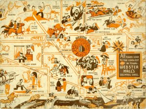 "One of the most whimsical maps in our collection is on the cover of this magazine put out by the Hotel Webster Hall in 1936. ""All Roads Lead to the Coolest Spot in Town."""