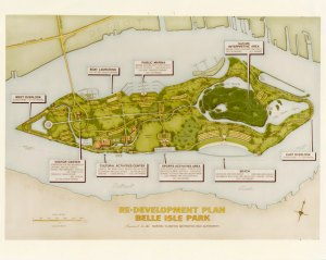 Belle Isle Park may be run by the State today, but in the past there were plans for it to become one of the Huron-Clinton Metroparks. This 1972 map shows some of their proposed redevelopment plans.