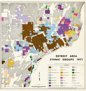 This informative map from Wayne State University shows concentrations of ethnic groups in Metro Detroit in 1971.
