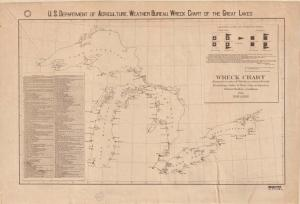 The Great Lakes can be treacherous for travelers, as the U.S. Department of Agriculture Weather Bureau attests with this map. It charts 147 shipwrecks from 1886 to 1891 due to weather incidents.
