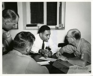 Bunche is pictured here meeting with General Åge Lundström, United Nations Chief Military Observer, in Haifa during the 1948 Arab-Israeli War.
