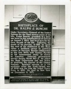 The historical marker placed at the birthplace of Bunche at 5886 Athon Street is pictured here at the Detroit Historical Museum prior to its dedication in 1972.