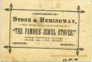 The back of a trade card, advertising a store in Sheridan, Michigan that sold Jewel stoves.