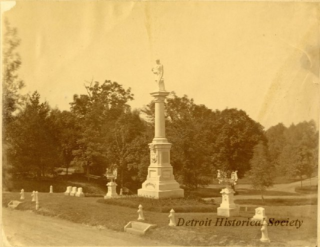 This monument--seen here in a c. 1880 photo--was erected by the Firemen's Fund in 1876. The surrounding lot is still reserved for members of the organization.