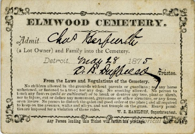 This 1875 admission ticket was issued to the family of Charles Herfurth. In the following decades, changing attitudes about the cemetery's role made such passes unnecessary.