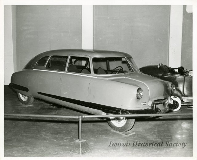 A special version of the Scarab was produced from leftover parts in 1945. It may be the first car with a full fiberglass body. (Detroit Historical Museum 1957)