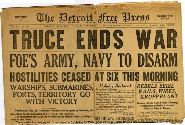 The Detroit Free Press Celebrating the end of World War I.