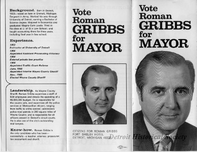 Pamphlet for Roman Gribbs's mayoral campaign.